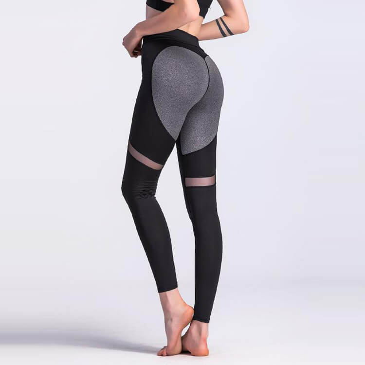Sheer Mesh Panel Color Block Scrunch Butt Leggings